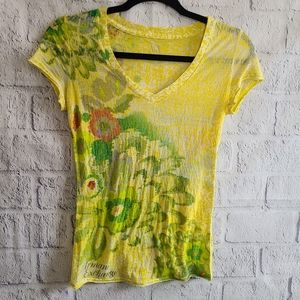 Armani Sheer Yellow V-Neck Floral Top SZ XS